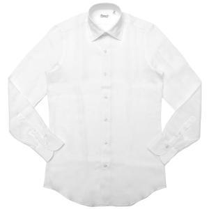 【SALE30】Finamore(フィナモレ)VITTORIOヴィットリオ/MILANOミラノ リネンソリッドセミワイドカラーシャツ P9001 11191200039|guji