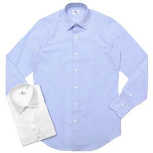 【SALE30】Finamore(フィナモレ)VITTORIOヴィットリオ/MILANOミラノ コットンブロードソリッドセミワイトカラーシャツ P9078 11191201039|guji