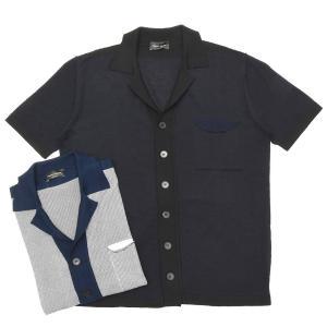 roberto collina(ロベルト コリーナ)ハイゲージコットンレーヨンマイクロボーダーS/Sオープンカラーニットシャツ RA22025 16091000025|guji