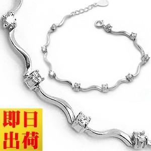 ブレスレット レディース/贅沢9粒 波型 一周 ブレスレット/エタニティ/プラチナコーティング/シルバー925/ギフト|gulamu-jewelry