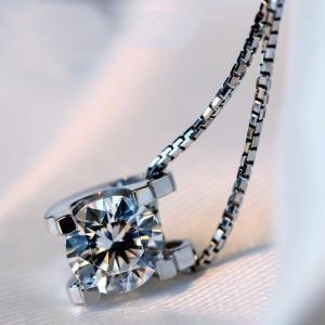 大粒0.8カラット 一粒 立体 ネックレス/レディース/プラチナ仕上げ/シルバー925 アクセサリー|gulamu-jewelry|07