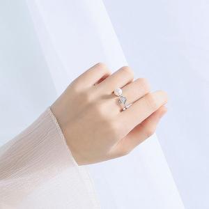 計0.08カラット パール クローバー リング/指輪/レディース/プラチナ仕上げ/シルバー/アクセサリー 女性 ジュエリー ピンキーリング|gulamu-jewelry|04
