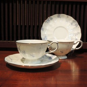 NARUMI BONE CHINA Rose Blanche ペアティー・コーヒーセット|gunkin-netshop