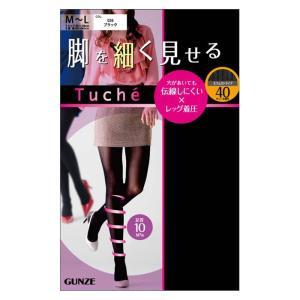 40デニール M〜Lサイズ L〜LLサイズ 着圧タイツ GUNZE(グンゼ)/Tuche(トゥシェ)/柄タイツ(婦人) ストライプ柄/THW87F|gunze