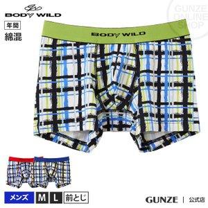 GUNZE(グンゼ)/BODY WILD(ボディワイルド)/綿混素材 ストレッチ ボクサーパンツ(前とじ)(メンズ)/BWG104J/M〜L|gunze