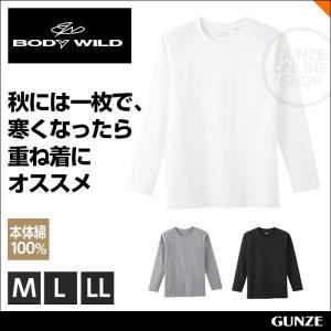 セール 特価 GUNZE(グンゼ)/BODY WILD(ボディワイルド)/【胸ポケット付】クルーネックロングスリーブシャツ(丸首)(紳士)/年間シャツ/BWJ508|gunze