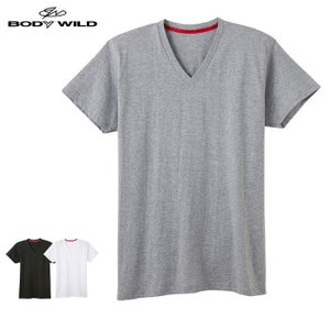 GUNZE(グンゼ)/BODY WILD(ボディワイルド) /オーガニックコットン シームレス VネックTシャツ(メンズ)/BWL215A/M〜LL|gunze