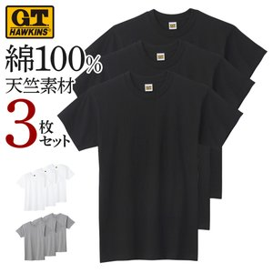 ホーキンス クルーネック Tシャツ 3枚セット メンズ グンゼ G.T.HAWKINS 丸首 インナー 天竺 肌着 綿100 コットン HK15133 M-LLの画像