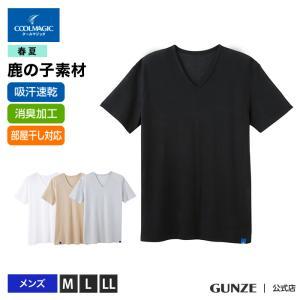 セール 特価 GUNZE(グンゼ)/COOLMAGIC(クールマジック)/VネックTシャツ(V首)(紳士)鹿の子素材/MC2515|gunze