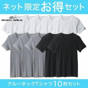 10枚組 GUNZE(グンゼ)/BODY WILD(ボディワイルド)/ネット限定お得セットBODYWILDクルーネックTシャツ10枚組(丸首)(紳士)/SETM038|gunze