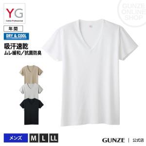 グンゼ YG Tシャツ V首 吸汗速乾 ドライ DRY&COOLGUNZE VネックTシャツ 紳士 ...