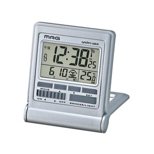 【ネコポス不可】MAG(マグ) デジタル電波目覚まし時計 ミネルバ 銀メタリック T-714 SM-Z【A】【キャンセル・返品不可】|guruguru-cosme