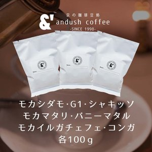 NEW コーヒー豆 送料無料 珈琲豆 アンダッシュ モカ トリオ 3種で300g コーヒー 豆 焙煎後すぐ発送|gurumekan
