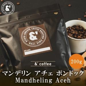 コーヒー豆 送料無料 珈琲豆 おてがるパックmini 有機JAS認証生豆100%使用 マンデリン アチェ 200g 約20杯分 コーヒー 豆 焙煎後すぐ発送 深煎り gurumekan