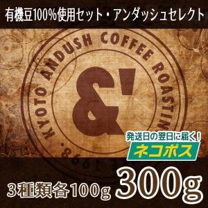 NEW コーヒー豆 送料無料 珈琲豆 有機JAS認証生豆100%使用珈琲豆セット アンダッシュ セレクト 3種で300g コーヒー 豆 焙煎後すぐ発送|gurumekan
