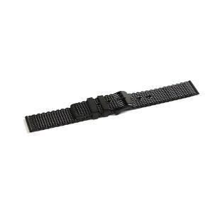 中厚のステンレスを平坦に編み込んだような作りの腕時計用ミラネーゼメッシュバンド。セパレートタイプなの...