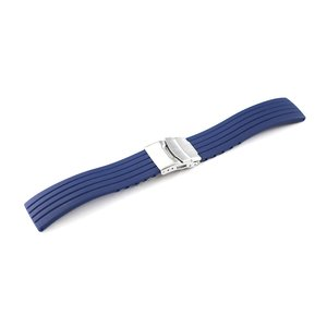 腕時計 交換 ベルト ラバー 18mm 20mm 22mm 24mm ネイビー 三つ折れ プッシュ式 ダブルロック バックル シルバー mr02-nv-s