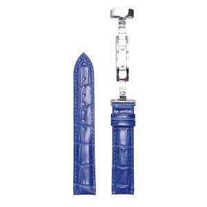 腕時計 ベルト 18mm レザー 青 Dバックル式 シルバー...
