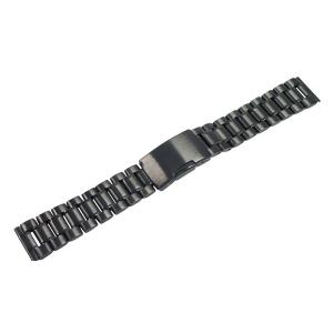腕時計 バンド 22mm ステンレス 黒 サイドプッシュ式バ...