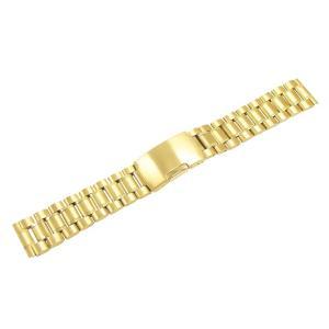 腕時計 バンド 16mm ステンレス ゴールド サイドプッシ...