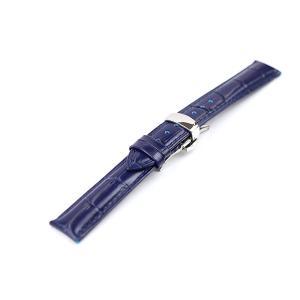 腕時計 ベルト 20mm レザー ネイビー プッシュ式Dバッ...
