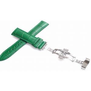 腕時計 ベルト 22mm レザー 緑 プッシュ式DバックルS...