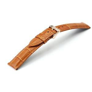 腕時計 ベルト 18mm 20mm 22mm 24mm レザー ブラウン 茶 クロコダイル型押し 牛...