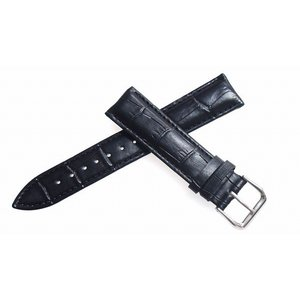 腕時計 ベルト 24mm レザー 黒 ピンインバックル 交換...