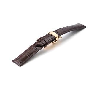 腕時計 レザー ベルト 18mm 20mm 22mm 24mm 濃 茶 ダークブラウン クロコダイル...