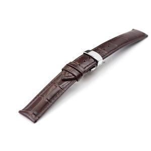 腕時計 ベルト 22mm レザー こげ茶 DバックルSS 工...