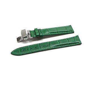 Dバックルを取付けた腕時計レザーバンド。グリーンカラーのクロコダイル型押しを施した牛革ベルトになりま...