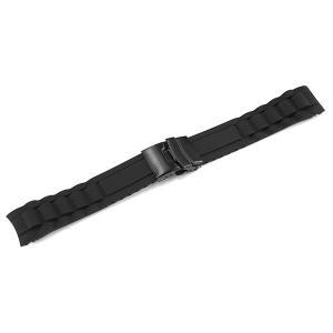 腕時計 ベルト ラバー 弓カン 20mm 22mm 黒 ブラック 三つ折れ プッシュ式 ダブルロック...