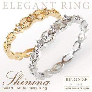 ピンキーリング 指輪 レディース リング 極細 3連 デザイン ゴールド シルバー プレゼント ジルコニア|gypsy