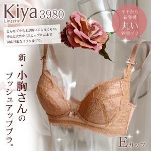 ブラジャー 脇肉  キヤ kiya 3980 シャンテリーレースコレクション プッシュアップブラ Eカップ   大きい バストアップ 育乳 ブラ h-blue