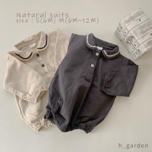 ベビー服 赤ちゃん ロンパース カバーオール 長袖 丸襟 襟付き 男の子 女の子