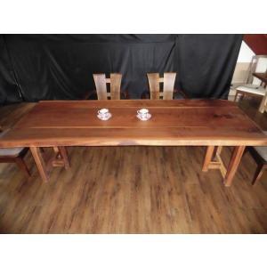 一枚板 ダイニングテーブル ローテーブル 無垢 脚付 天板 座卓 ウォールナット 長さ230cm E-085|habitz-mall