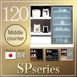 レンジ台 キッチンカウンター キッチン収納 背の低い食器棚 ロータイプ 120幅 完成品 日本製 大川家具 抜群の収納力 抜群の特色 引戸タイプ 開梱設置送料無料|habitz-mall