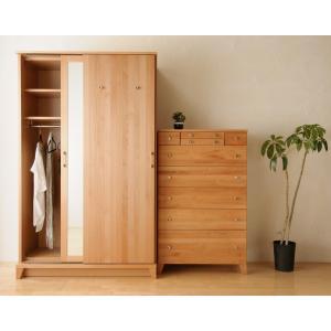 クローゼット 幅120 ワードローブ 引き戸 鏡 ミラー 木製 おしゃれ 収納 収納棚 タンス|habitz-mall