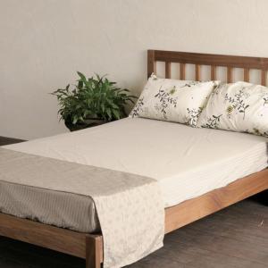 ベッド すのこ W 12470 ダブル ベッド 木製 無垢 ホワイトオーク レッドオーク(2素材より選択) 完成品 日本製  大川家具 開梱設置組立て送料無料|habitz-mall