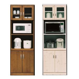 レンジ台付食器棚 60 キッチンボード 完成品 おしゃれ レンジ台 食器棚 木製 幅60 キッチン収納|habitz-mall