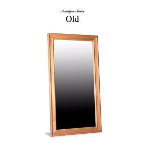 Old ウォールミラー 木枠 無垢 姿見 鏡 ミラー 壁掛け 紅松 無垢材 天然木 おすすめ アンティーク調 最高級|habitz-mall