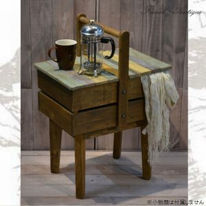サイドテーブル 46 アンティーク カントリー 家具 雑貨 カントリー調 フレンチ おしゃれ 木製|habitz-mall