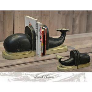 ブックスタンド 本立て ブックエンド アンティーク カントリー 家具 雑貨 カントリー調 おしゃれ 卓上スタンド 机上 仕切り 木製 くじら クジラ|habitz-mall