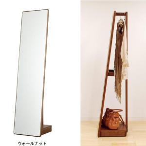 スタンドミラー 40 無垢 ブラックチェリー ウォールナット オーク キャスター付き 全身 鏡 姿見 ハンガーラック ミラー 日本製 完成品 木製 3素材選択 送料無料|habitz-mall