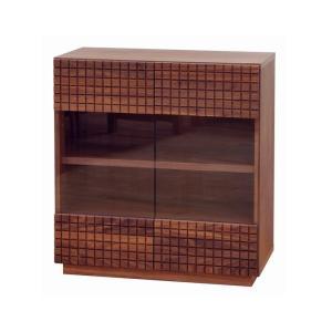 0 ショコラ 80キャビネット 前板に無垢材使用 7素材から選べる ガラス扉 リビング収納|habitz-mall
