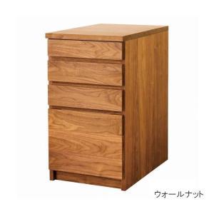 デスクワゴン サイドワゴン おしゃれ W40 D60 日本製 木製 無垢 ブラックチェリー ウォールナット オーク 収納  デスク収納 キャスターなし 送料無料|habitz-mall