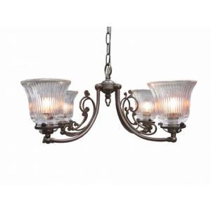 真鍮 シャンデリア (CP40AB 2010) LED対応 クラシカルなデザインの4灯シャンデリア アンティーク調 ランプ 照明 吊り下げ式 シンプル|habitz-mall