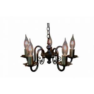 真鍮 シャンデリア (FC-121A5) LED対応 クラシカルなデザインの5灯シャンデリア アンティーク調 ランプ 照明 吊り下げ式 シンプル|habitz-mall