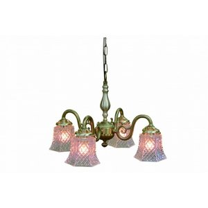 真鍮 シャンデリア (FC-558G4 007) LED対応 クラシカルなデザインの4灯シャンデリア アンティーク調 ランプ 照明 吊り下げ式 シンプル|habitz-mall