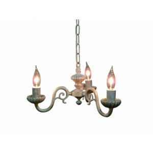 真鍮 シャンデリア (FC-770R3) LED対応 くすんだようなホワイトが印象的 アンティーク調 ランプ 照明 吊り下げ式 シンプル|habitz-mall